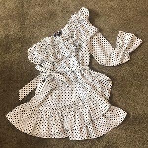 One shoulder polka dot dress